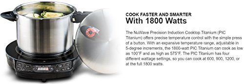 NuWave PIC Titanium 1800W Portable Induction Cooktop Countertop Burner